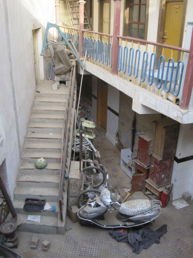 happy hotel stairway