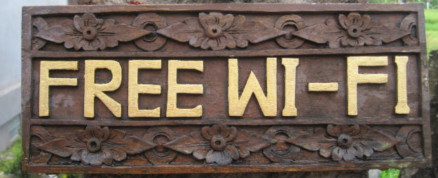 wifi wood sign