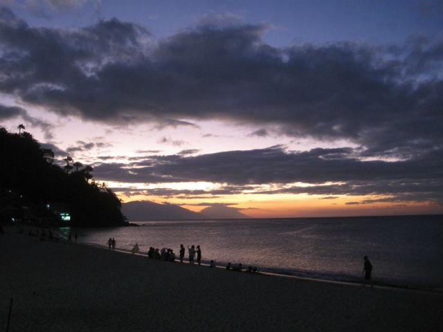 white beach sunset