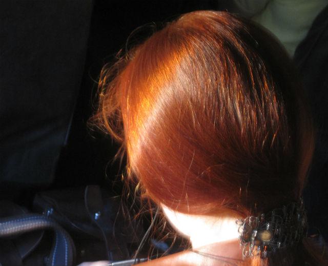 redhead on bus