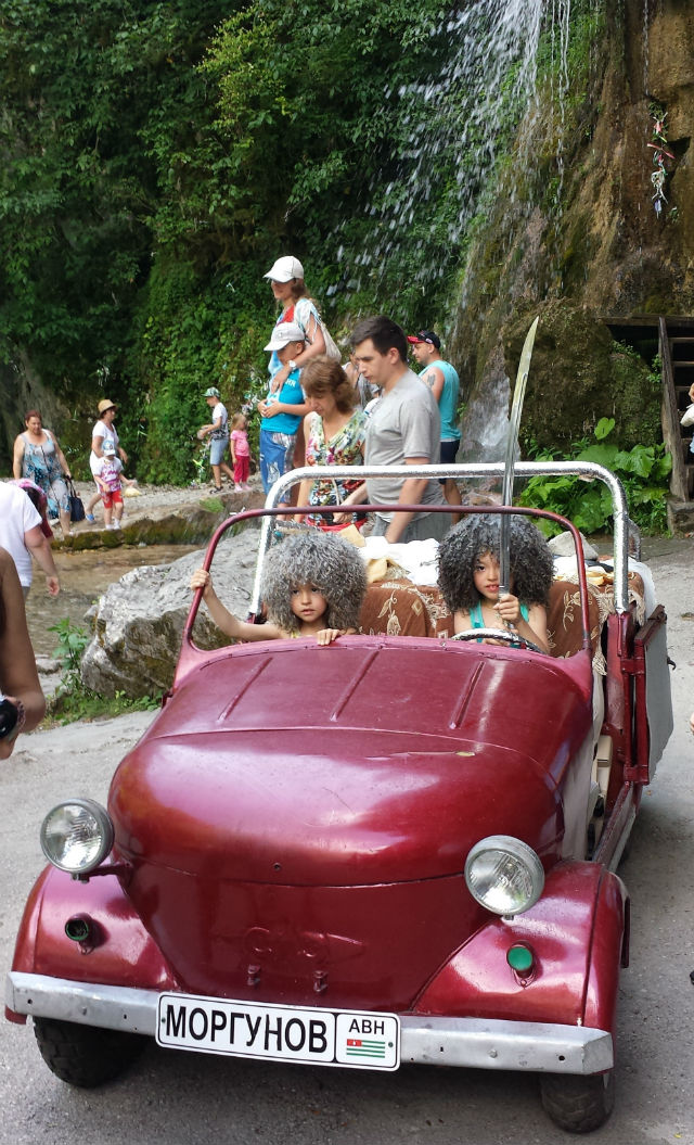 waterfall car